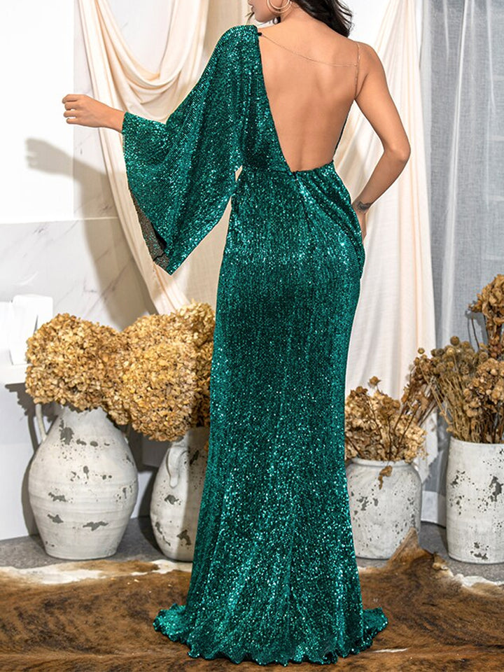 FLAMING LIPS Slit Sequins Maxi Dress in Green