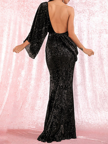 FLAMING LIPS Slit Sequins Maxi Dress in Black