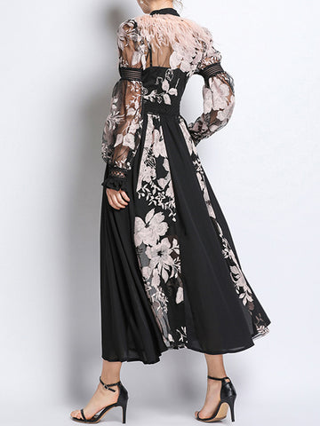 BECHI Feathers Embroidery Chiffon Maxi Dress