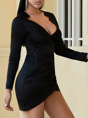 BONI Asymmetric Wrap Mini Dress