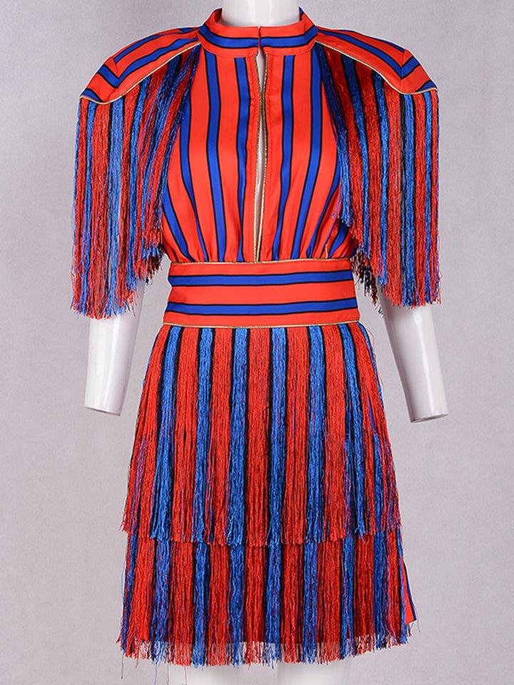 Striped Mini Dress with Fringes