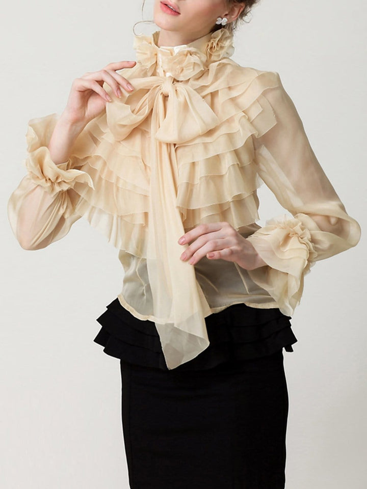 CORAL Bowknot Ruffle Blouse in Apricot