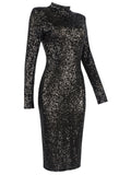 TAKIRA Black Turtleneck Slim Fit Sequined Midi Dress