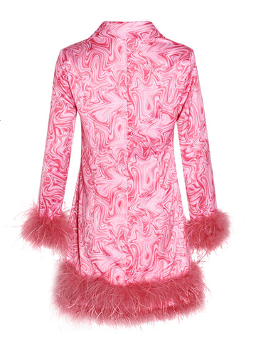 TIA Feathered Turn-Down Collar Mini Dress