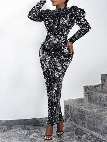 SEANNA Sequin Puff Sleeve Slim Maxi Dress