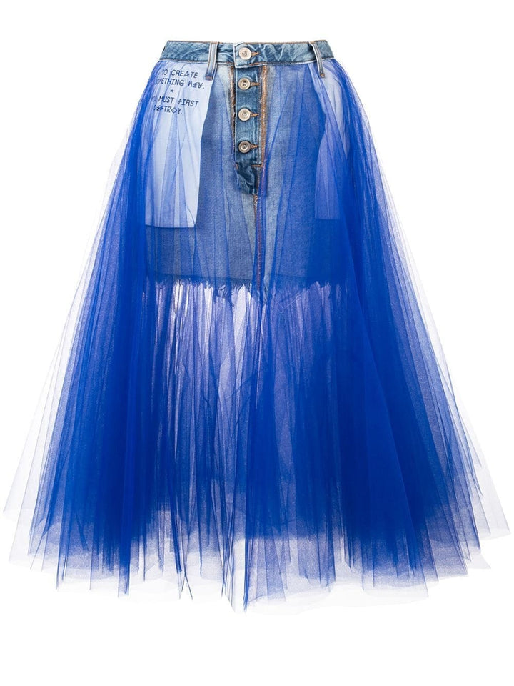 MARION Taffeta & Denim Skirt in Blue