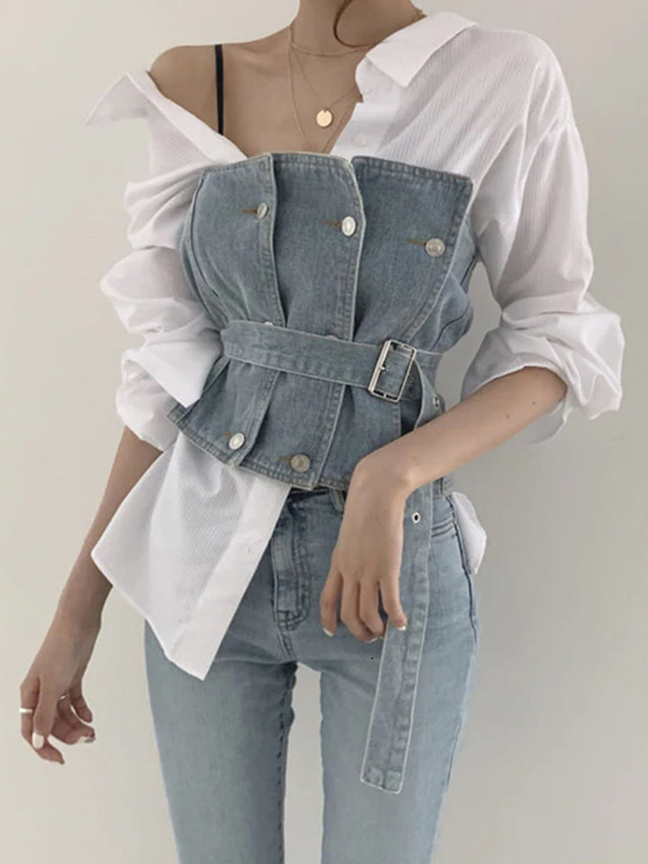 Double Breasted Patched Denim Corset