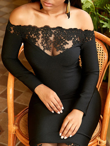 ADISA Off Shoulder Lace Bodycon Midi Dress