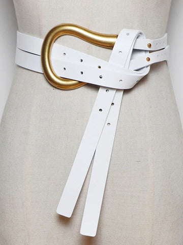 U Leather Belt In White