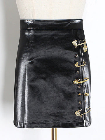 Asymmetrical Pins Leather Skirt