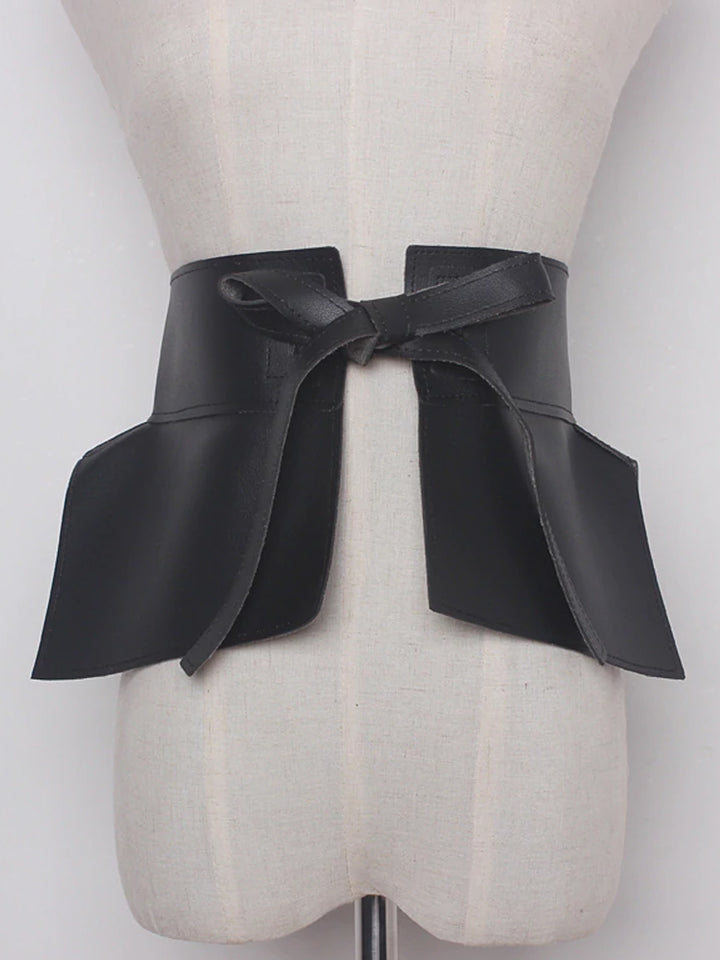 Faux Leather Bow Belt