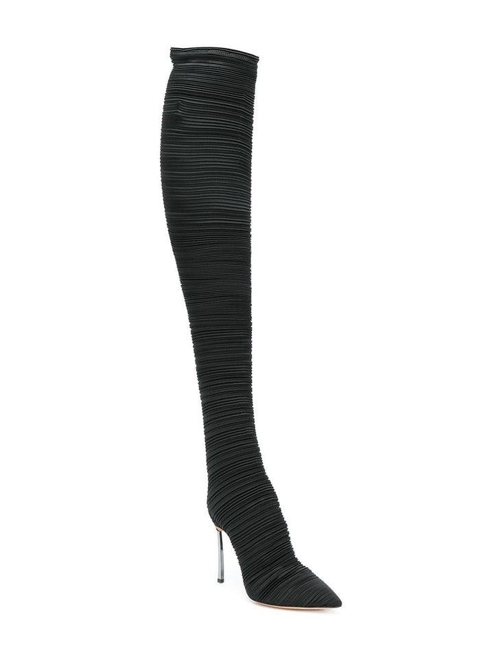 Ruched Satin Knee Heel Boots