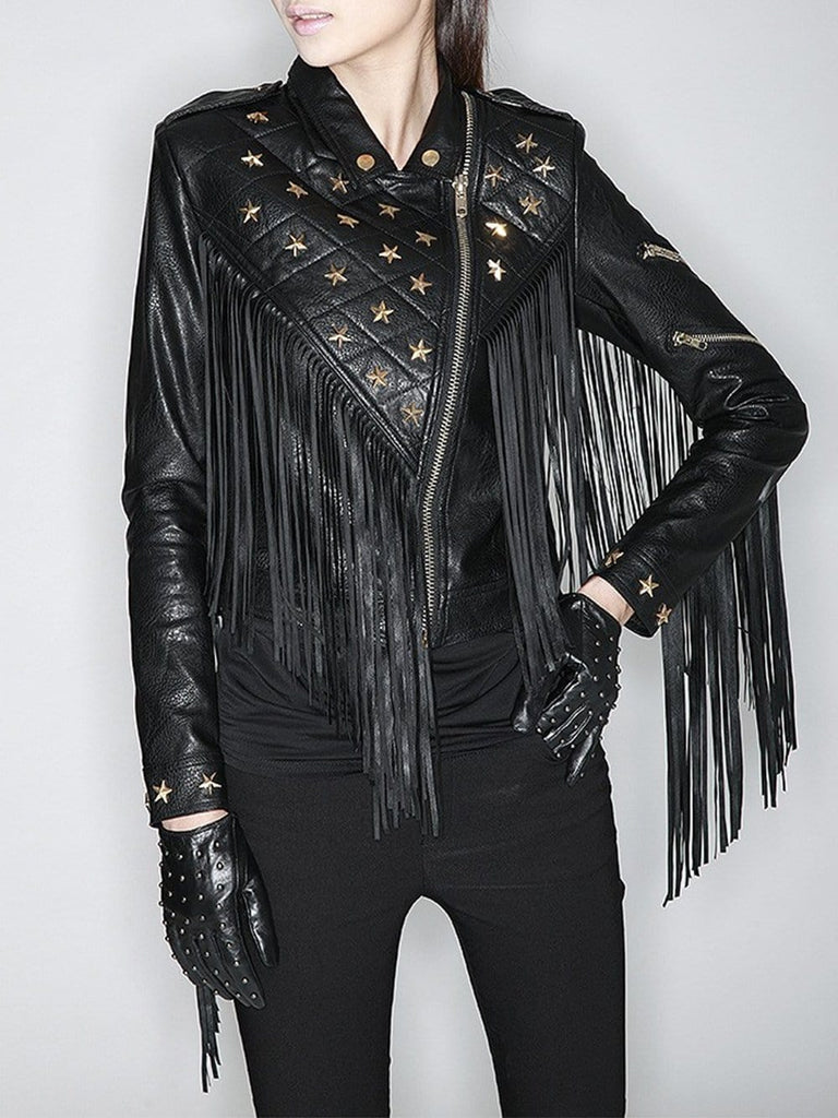 3fddb3cc0a00 Star-Beaded Slim Fringed Motorcycle Jacket – ZCRAVE