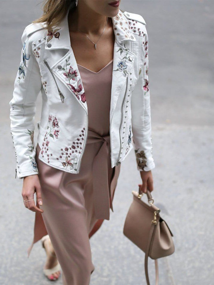 Leather Punk Jacket in White