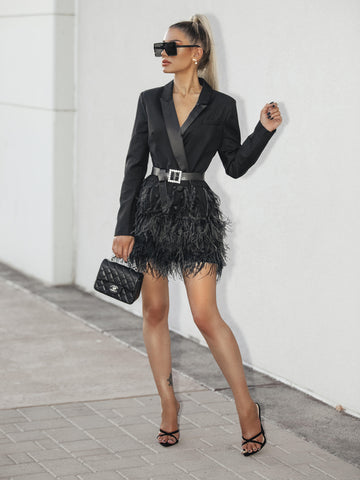Feathers Tassel Hem Belted Blazer Dress