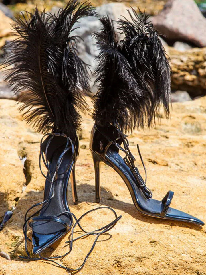 Pointed Toe Feathers Sandals