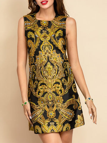 EISHA Jacquard Beading Mini Dress