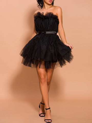 AMELIAN Strapless Tulle Mini Dress