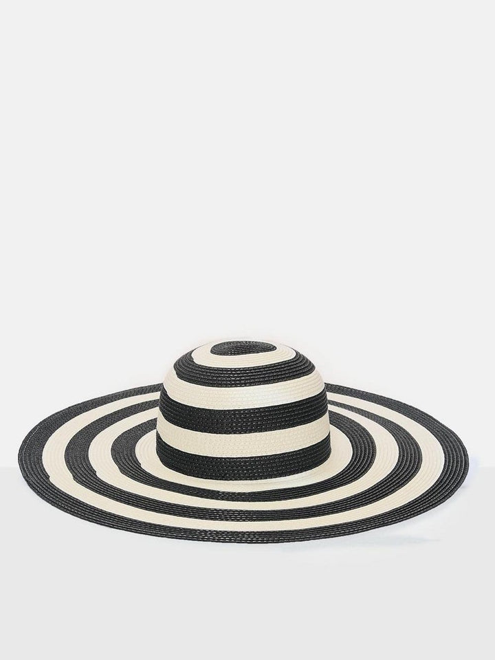 Mono Stripe Straw Floppy Hat