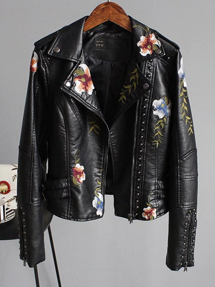 Leather Punk Jacket in Black