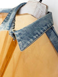 Mesh & Denim Blouse + Belt Set