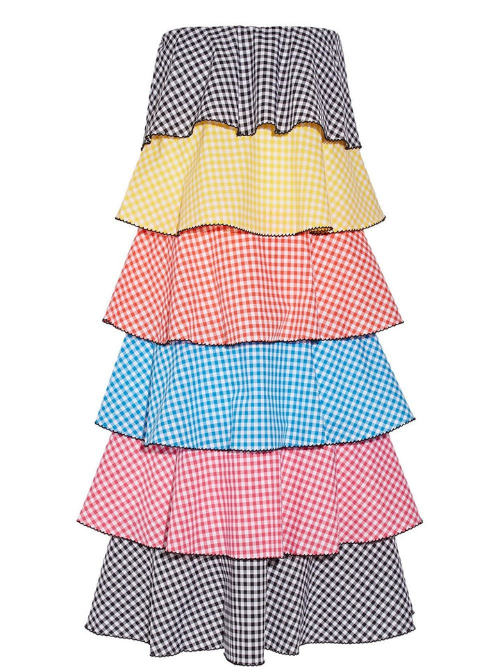MARGOT Tiered Gingham Cotton-Poplin Midi Dress