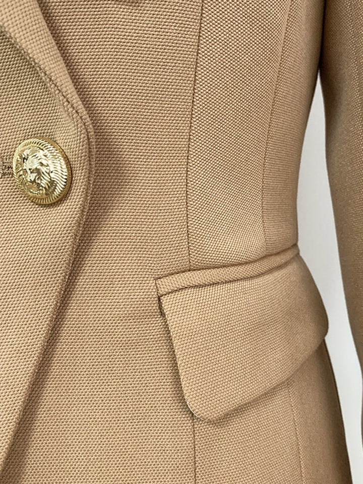 Double Breasted Fitted Blazer in Light Brown