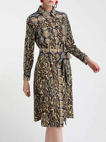 Leopard Shirt Midi Dress