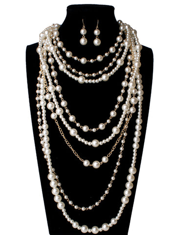 Multi-layer Simulated Pearls Chain