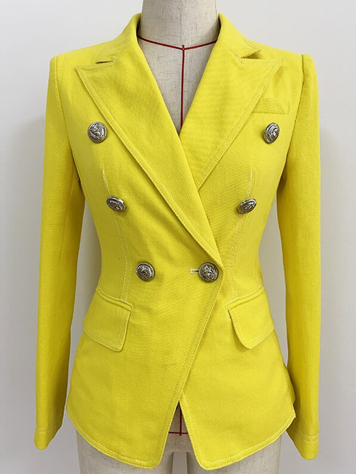 Yellow Double Breasted Denim Blazer