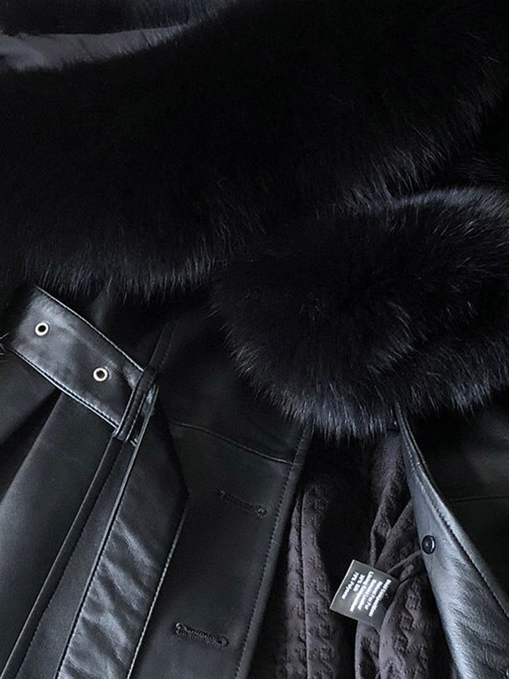 Faux Fur Genuine Leather Coat in Black