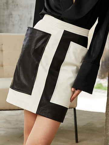 Hit Color Leather Mini Skirt