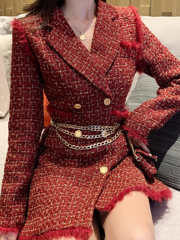 Tweed Double Breasted Blazer Dress w/ Chain Belt Bag