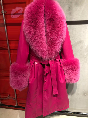 Faux Fur Genuine Leather Coat in Pink