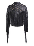 Star-Beaded Slim Fringed Motorcycle Jacket