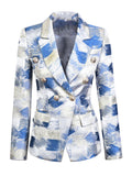 Double Breasted Metal Graphic Blazer