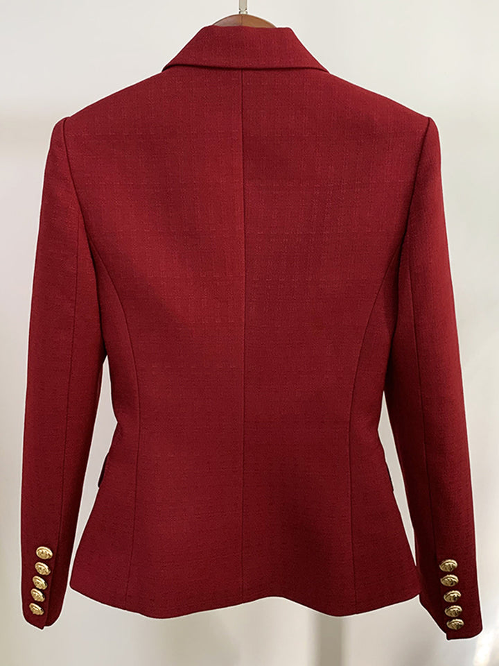 Slim Fit Double Breasted Blazer in Burgundy