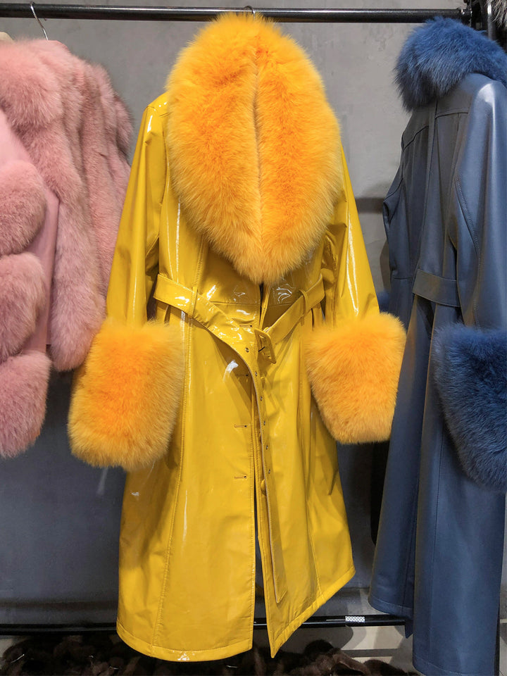 Faux Fur Genuine Patent Leather Coat in Yellow