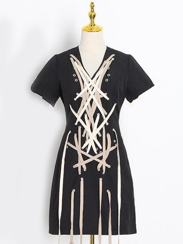 BELITA Drawstring Cross Mini Dress