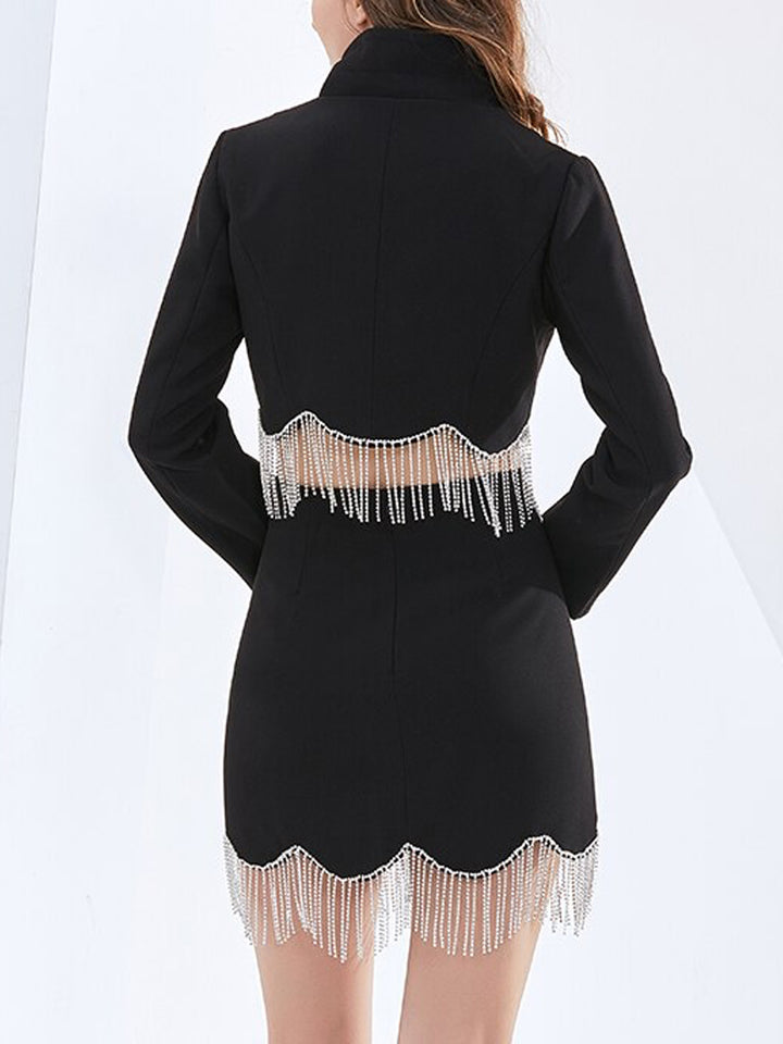 N!NNA Fringes Jacket & Skirt Set