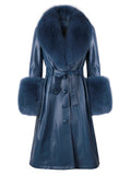 Faux Fur Genuine Leather Coat in Navy