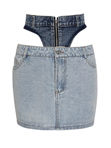 Hollow Out Mini Denim Skirt