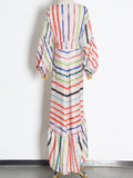 DELPHINE Asymmetrical Striped Dress