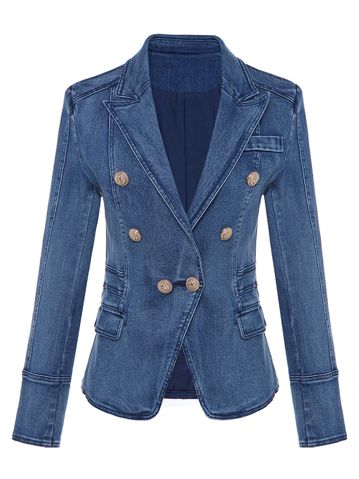Double-Breasted Denim Blazer