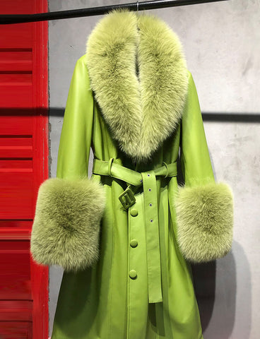 Faux Fur Genuine Leather Coat In Lime Green