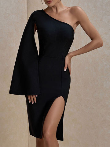 BARBINA Slit One Shoulder Dress