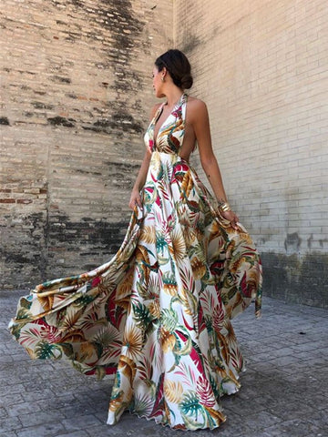 JWALIE Floral Backless Maxi Dress