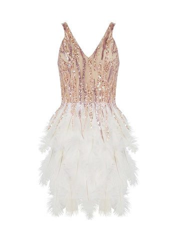 GIANNA Feathers & Sequins Mini Dress