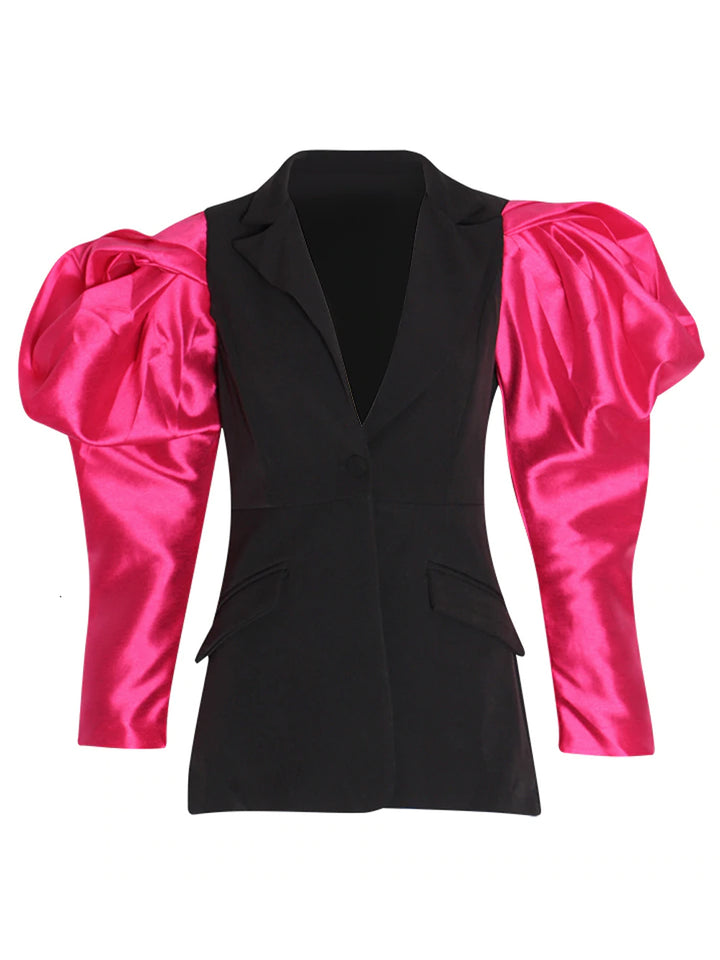 Satin-sleeve single-breasted wool blazer