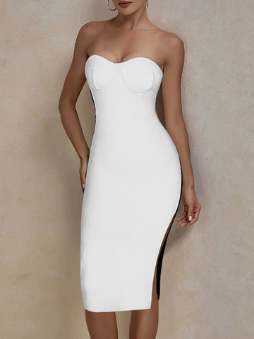 MASIKA Strapless Midi Dress